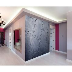 Give your walls a metal look with this wal mural. The design has large scale panels with rivets for a realistic look. Tiled Metal Wall Mural comes on 6 panels. Vinyl Backsplash, Backsplash Panels, Vinyl Panels, Pvc Wall Panels, Metal Wall Panel, Metal Walls, Metallic Wallpaper, Wall Wallpaper, Feature Wallpaper