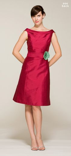 Vintage inspired off-shoulder bridesmaid dress with roll collar and sewn-in waistband. This dress is available with multiple skirt options, please clickhere to see all possible silhouettes. ....Thanks to @Jessica Ayabarreno