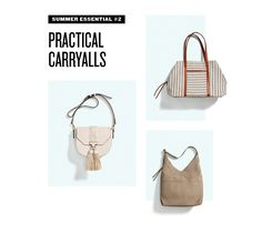I like the striped carryall (could be a weekender?), geo print clutch, and simple brown tote for work