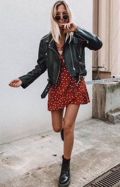 Leather jacket dress, trendy outfits и fashion outfits. Mode Outfits, Trendy Outfits, Dress Outfits, Fashion Outfits, Casual Dresses, Dress Fashion, Black Outfits, Black Boots Outfit, Maternity Outfits