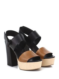 VIC MATIE - Sandalo alto - Donna - Sandalo alto in pelle con cinturino su retro a strap e suola in gomma. Tacco 120, platform 45 con battuta 75. - BLACK\CUOIO - € 235.00