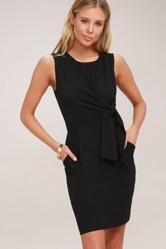57e09fa515 Zealous Love Black Tie-Front Midi Dress