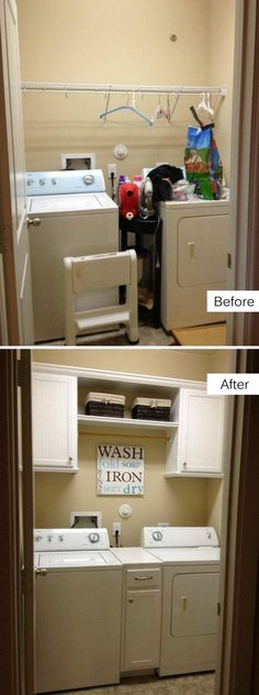 Budget friendly Laundry Room Makeover with More Storage.