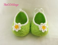 Light Green handmade crochet baby girl shoes with white and yellow flower, Ballerina Baby Shoes, Slippers. £6.00, via Etsy.