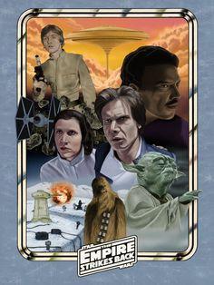 Star Wars - The Empire Strikes Back by ~DarklighterDigital * Star Wars Film, Star Wars Poster, Poster On, Star Wars Art, Star Trek, 1980s Films, Excellent Movies, Star Wars Love, Star Wars Pictures