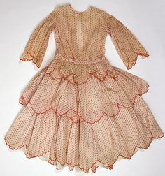 1850-1859 girl's cotton dress, American.