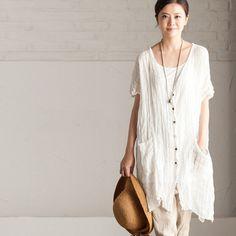 Women summer cotton linen Loose shirt
