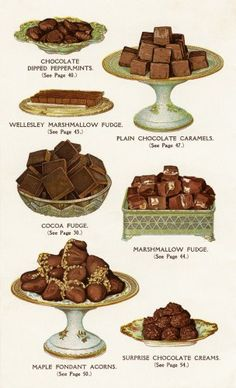 This vintage page of chocolate sweets includes: chocolate dipped peppermints, marshmallow fudge, chocolate caramels, cocoa fudge, maple fondant acorns and surprise chocolate creams. The page is fro… Chocolate Sweets, Chocolate Shop, Chocolate Dipped, Chocolate Caramels, Retro Recipes, Vintage Recipes, Vintage Food, Retro Food, Cocoa Recipes