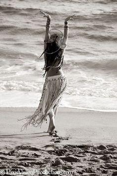 dancer; skirt; ocean; spiritual; soul; mind; body; free spirit; photography; black and white; sand