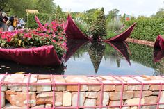 Gabion baskets made from steel reinforcing and spray painted pink
