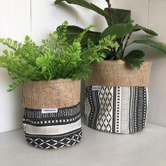 Black And Beige Long Weekend Tribal Hessian Planter Bag