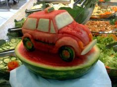 Watermelon carving has become extremely popular as the colors of the fruit lend themselves to some amazing creations. There are two basic reasons for creative watermelon art, and those are creations for a special event or table setting, or for. Fruit Sculptures, Food Sculpture, Veggie Art, Fruit And Vegetable Carving, Watermelon Carving, Watermelon Fruit, Carved Watermelon, Salad Design, Food Design