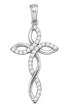 10kt White Gold Womens Round Natural Diamond Cross Fashion Pendant 1/3 Cttw