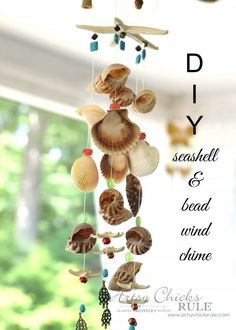 DIY Seashell & Bead Wind Chime is part of Seashell crafts Windchimes - DIY Seashell & Bead Wind Chime Seashell Mobile, Seashell Art, Seashell Wind Chimes, Diy Wind Chimes, Beach Crafts, Diy Crafts, Decor Crafts, Seashell Projects, Seashell Crafts Kids