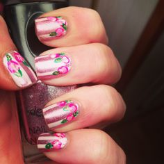 Vintage Roses and Stripes - base color is alessandro 'Dollhouse'