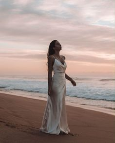 Sunday sunsets with in our La Lune Cowl Draped Maxi in Cream 🌊 Beach Photography Poses, Beach Poses, Beach Portraits, Elopement Wedding Dresses, Elope Wedding, Beach Elopement, Debut Photoshoot, Custom Wedding Dress, Silky Wedding Dress
