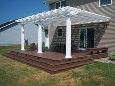 Attached white vinyl pergola attached to house - 7 square columns and ., Attached white vinyl pergola attached to house - 7 square columns and shade option Pergola Metal, Pergola Cost, Vinyl Pergola, Patio Pergola, Pergola Curtains, Pergola Swing, Deck With Pergola, Wooden Pergola, Pergola Shade