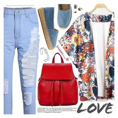 """""""Street Style:Kimono Cool"""" by pokadoll ❤ liked on Polyvore featuring Castañer and MANGO"""
