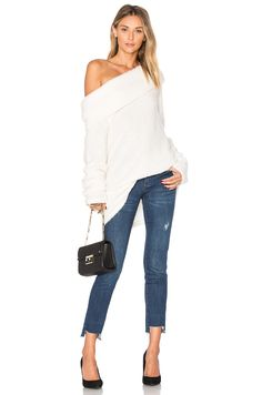 Project Social T Monet Off Shoulder Sweater in Cozy Cream | REVOLVE