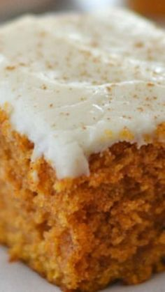 Grandma's Pumpkin Snack Cake ~ This Pumpkin Snack Cake is packed full of fall flavors, and topped with a easy cream cheese cinnamon-dusted frosting!