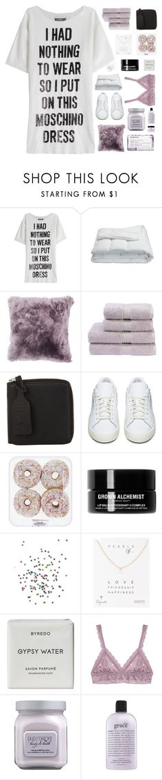 """""""VIA'S 90.K SET CHALLENGE"""" by queen-bellaa ❤ liked on Polyvore featuring Moschino, Frette, Christy, Acne Studios, adidas Originals, Grown Alchemist, Dogeared, Byredo, Hanky Panky and Laura Mercier"""
