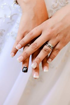 Beautiful bridal nail art for your wedding day.