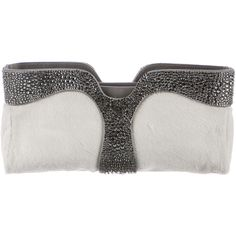 Pre-owned Christian Louboutin Strass Ponyhair Clutch ($795) ❤ liked on Polyvore featuring bags, handbags, clutches, white, pre owned handbags, calf hair purse, white hand bags, white handbags and preowned handbags