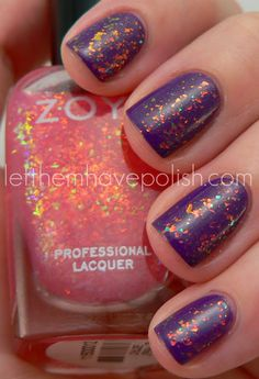 Zoya Chloe over Tru.  Huge shout-out to Zoya for jumping on the flakie polish bandwagon.  While their contribution was nothing like what we saw from Finger Paints, I still love Chloe, especially over Tru.