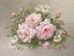 """Featuring a pink roses with an alder flower on a twig, this canvas print is an original painting by Christie Repasy. <br><br> • 14""""H x 18""""W<br> • Signed by artist<br> • Hand-stretched canvas on wooden frame<br> • Treated with clear coating to create the look and feel of an original painting<br> • Not gallery wrapped<br> <br><br> <strong>Christie Repasy</strong><br> As seen on HGTV, renowned artist Christie Repasy's original canvas prints use soft colors, French-inspired lush roses a..."""