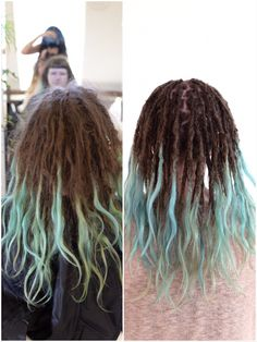 You've asked for before and after photos of my clients, here you have it! This is Rebecka she came to me to get help with her dreadlocks and to get them a bit more controlled. Love the blue/green tips she has going on!