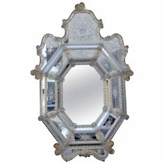 Etched Venetian Octagonal Mirror | From a unique collection of antique and modern wall mirrors at https://www.1stdibs.com/furniture/mirrors/wall-mirrors/