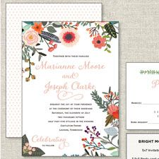 Bright Modern Garden | The Happy Envelope           floral / elegant / garden / bright / modern / colorful / unique / wedding invitation
