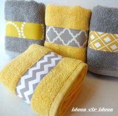 Stukje stof op handdoeken stikken voor een persoonlijke touch