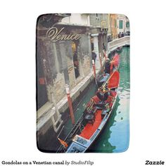 Gondolas on a Venetian canal Bathroom Mat