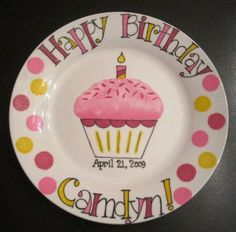 Hand Painted Happy Birthday Keepsake Plate . by thewildbaby