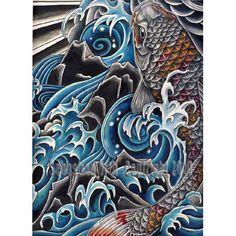 Koi in Waterfall art print by Sebastian Orth japanese style tattoo image fish water. $50.00, via Etsy.