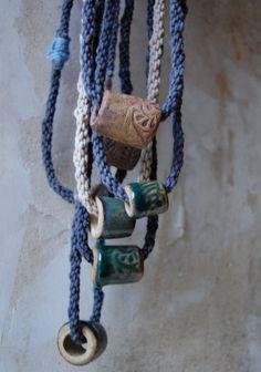 necklace hand dyed string japanese braid handmade by enhabiten