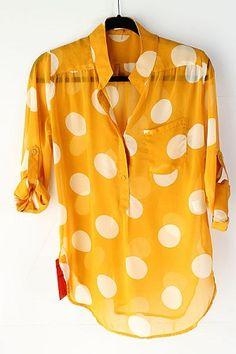 Mustard Polka Dot Blouse