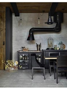 concrete wall + black #rustic #industrial #kitchen