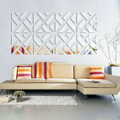The Mirrored Chevron Print Wall Decoration is a beautiful decorative addition to any room in your home. It is easy to install and adds very classy touch to any decor. This 32 piece acrylic wall sticker kit that comes in 3 colors and 3 sizes. Large Wall Stickers, Mirror Wall Stickers, Wall Stickers Home Decor, Home Wall Decor, Wall Decals, Diy Living Room Decor, Mural Wall, Decor Room, Wall Decor Design