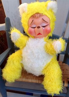 VINTAGE RUSHTON RUBBER FACE SAD CRYING TEAR YELLOW TEDDY BEAR PLUSH STUFFED DOLL
