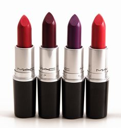 MAC The Matte Lip Lipsticks, From L to R:  Damn Glamorous, Fashion Revival, Heroine, La Vie En Rouge.  Available online Oct. 2, in stores Oct. 9, 2014