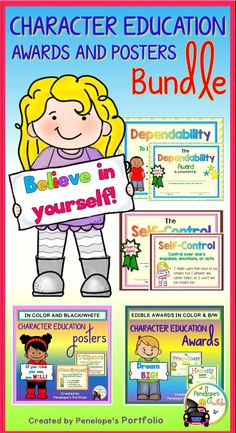 These Positive Behavior / End of the Year Superlative Award Certificates and Life Skill / Virtue Posters are great for classroom management. Each award and poster focuses on Character Education and comes in color and black and white.