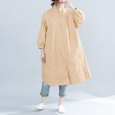 Brand Oversized Apparel Women Solid 2019 Spring New Top Female TunicThis dress is made of cotton or linen fabric, soft and breathy. Flattering cut. Makes you look slimmer and matches easlily. Materials used: Cotton,PolyesterMeasurement:One size fits all for this item. Please make sure your size doesn't exceed this size