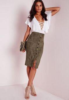 Button Through Faux Suede Midi Skirt Khaki