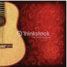 Vector Art : grunge music background with guitar and floral ornament