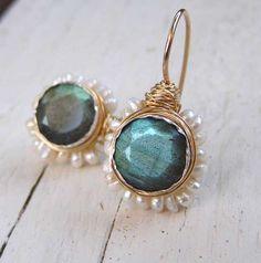 Bridal Wedding Earrings, Labradorite Pearl flower  Earrings, Labradorite Jewelry, 14K gold filled, June birthstone. $165.00, via Etsy.