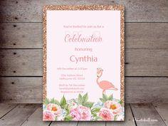 DIY Flamingo Invitation Custom Invitation Baby by MagicalPrintable