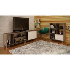 Nacka TV Stand 1.0 Oak/White, Entertainment Centers -  Manhattan Comfort, The Dining Room Table - 1