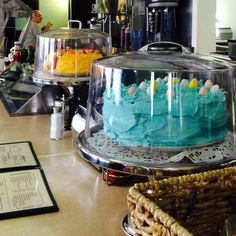 Historic Village Diner, Red Hook, New York (Dutchess County). Easter cakes come in two options: sunshine yellow or bright aqua.  Also, I have never had better potato salad ever (excerpt for maybe Emilio's in Lincoln Park, Chicago).
